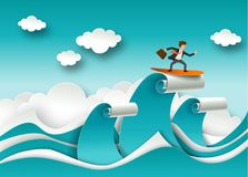 Business success concept vector poster in paper art origami style. Businessman surfing on a top of the wave. Sea waves. And clouds paper cut Stock Photo