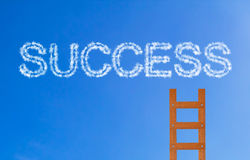 Business Success Concept. Wooden stair on blue sky background Royalty Free Stock Image