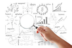 Business success creative drawing strategy plan idea search Royalty Free Stock Photos