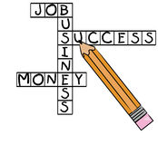 Business success crossword. Crossword puzzle with positive business words - job, success, money, business - vector Stock Photo