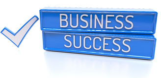 Business Success - 3d banner,  on white background. Business Success - blue 3d banner with check mark,  on white background Stock Photos