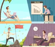Business Success Failure Cartoon Banners royalty free illustration
