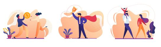 Business Success, Family, People Money Icon Set royalty free illustration