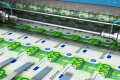 Printing 100 Euro money banknotes. Business success, finance, banking, accounting and making money concept: printing 100 Euro money paper cash banknotes on print royalty free illustration