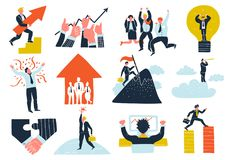 Business Success Flat Icons Set. Business success flat icons collection with teamwork cooperation idea growth profit winner celebration symbols isolated vector Royalty Free Stock Photography