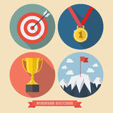 Business success flat style icons Stock Photography