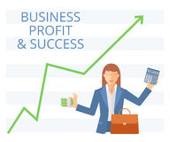 Business success flat vector concept illustration. Businesswoman is holding a bundle of paper money in one hand and calculator in another. Woman with briefcase Stock Photography