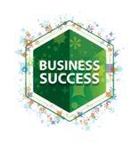 Business Success floral plants pattern green hexagon button vector illustration