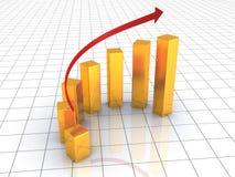Business success golden graph grow up. 3d Royalty Free Stock Photos