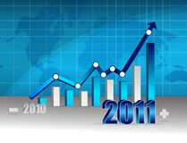 Business success - graph. 2010 2011 Business graph with world background. Vector File also available Royalty Free Stock Photography