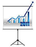 Business success - graph. 2010 to 2011 Success Business graph presentation screen over a white background Stock Photos