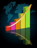 Business success - graph. Business graph with world background Royalty Free Stock Image