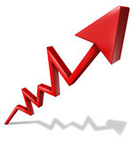 Business success graph. Pointing upward and rising as a symbol of financial success and economic indicator of profitability and growth in market share on white Stock Photo