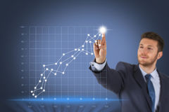 Business Success Graph on Touch Screen Stock Image