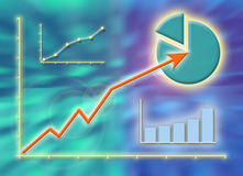 Business success graphs. Graph and diagrams showing business growth Stock Images