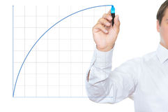 Business success and growth concept. Businessman drawing a diagram with blue marker Royalty Free Stock Images