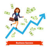 Business success and growth concept. Woman in suit. Running and rising on a growing chart curve arrow surrounded by flying dollar banknotes. Flat style vector Stock Image