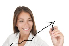Business success and growth graph. Business success and growth concept. Graph / chart drawing by young beautiful businesswoman with pen writing on whiteboard Stock Photo