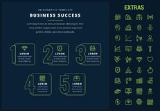 Business success infographic template and elements. Business success options infographic template, elements and icons. Infograph includes line icon set with Royalty Free Stock Photo