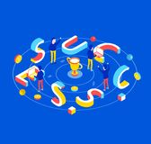 Business success isometric concept. Success 3d word lettering typography with isometric people and winner cup. Flat 3d isometric style. Isometric design for Royalty Free Stock Photography