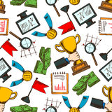 Business success and leadership seamless pattern. Background with colorful sketches of computer monitors and notebooks with growing financial graphs and bundles Stock Image