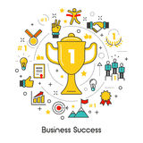 Business Success Line Art Thin Icons Set with Trophy Royalty Free Stock Images