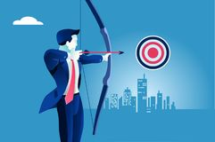 Business success man target illustration landscape bow man. Success. Businessman aiming target. Concept business bow man vector illustration Royalty Free Stock Photography
