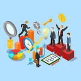 Business success movement winner flat 3d isometric vector. Flat 3d isometric business success movement concept web infographics vector illustration. Winner Stock Image