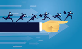 Business Success Moving Forward Direction Concept. Vector illustration. Business directional leadership conceptual. Businessmen running forward looking for Royalty Free Stock Images