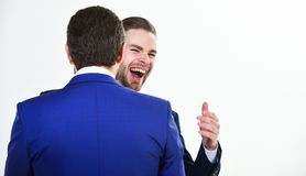 Business success. Office party. Celebrate successful deal. Launch own business. Business partners celebrate success. Business achievement concept. Men happy royalty free stock image