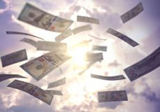 Business Success Raining US American Dollar. Raining money from the sky, American dollar bills falling everywhere. Concept of wealth, making easy money, without royalty free illustration