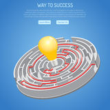 Business Success and Searching Idea Concept. With 3D circular Labyrinth with solution and light bulb. vector illustration Royalty Free Stock Image