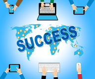Business Success Shows Web Site And Communication Stock Photo