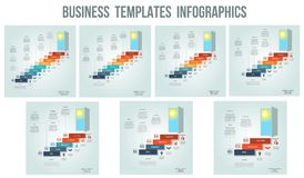 Business success startup, Conceptual infographics steps up ladders and doorway, template 3, 4, 5, 6, 7, 8, 9 positions, possible. Business success startup vector illustration