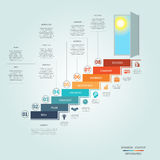 Business success startup infographics eight positions. Business success startup, Conceptual infographics steps up ladders and doorway, template eight positions royalty free illustration