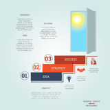 Business success startup infographics three positions. Business success startup, Conceptual infographics steps up ladders and doorway, template three positions royalty free illustration