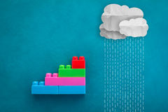Business success step with raining as business problem ahead.jpg Stock Photo