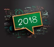 2018 business success strategy plan ideas. 2018 business success strategy plan idea on speech bubbles blackboard, Creative thinking drawing charts and graphs Stock Image