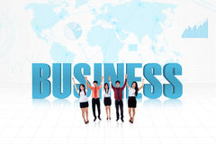 Business success team. Illustration of successful business people on world map background Stock Photos