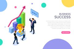 Business success or teamwork concept with characters. Can use for web banner, infographics, hero images. Flat isometric vector illustration