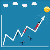 Business success, try to crash the growth up arrow Stock Image