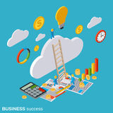 Business success vector concept. Business success flat isometric vector concept illustration Stock Image