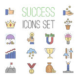 Business success vector icons set isolated on white Stock Images