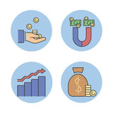 Business success vector money magnet icons. Royalty Free Stock Photos
