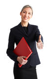 Business success woman. Smiling business woman. Isolated over white background Royalty Free Stock Photography