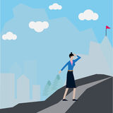 Business success, woman`s workers walk along the way go to success vector illustration