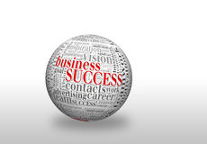 Business Success. Business  SUCCESS, in a word cloud designed in a 3D sphere with shadow Royalty Free Stock Photos