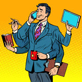Business successful businessman multitasking Royalty Free Stock Image
