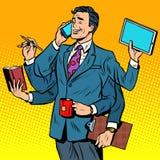 Business successful businessman multitasking Royalty Free Stock Image