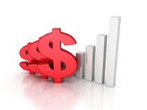 Business Successful Dollar Bar Graph. 3d Render Illustration Royalty Free Stock Images